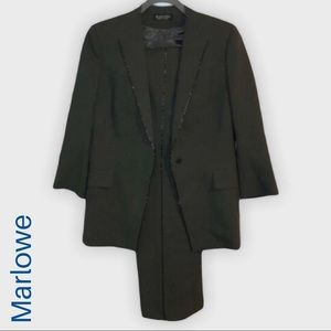 Marlowe Made in Italy beaded tuxedo pants suit